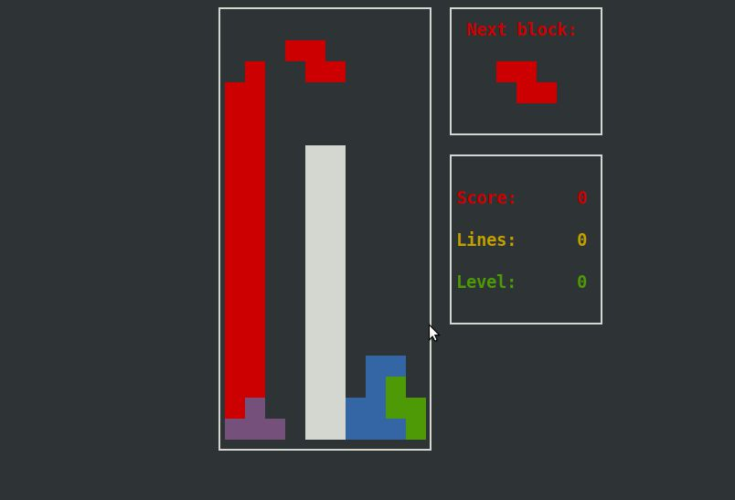 Screenshot of `bastet`, the Bastard Tetris