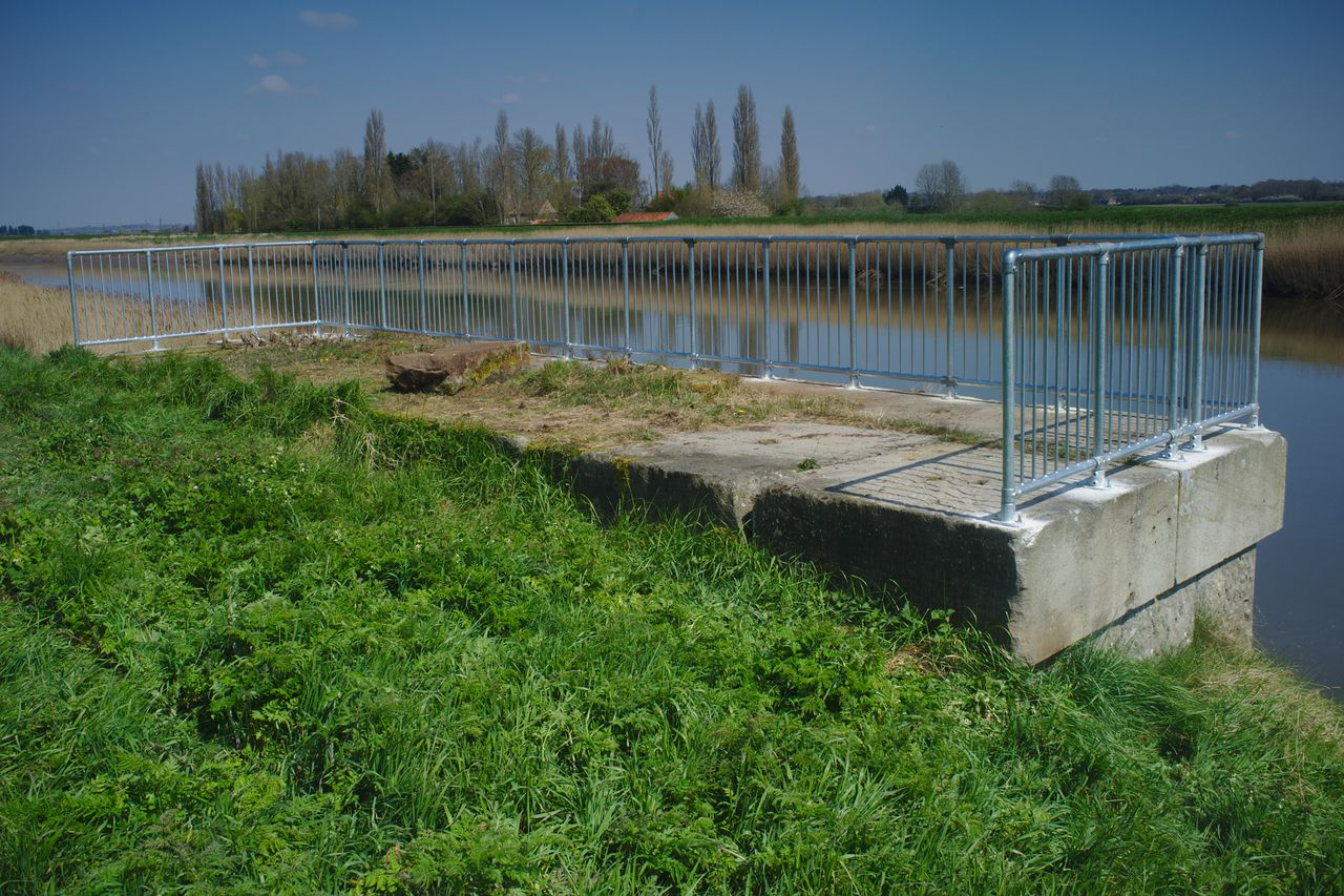 Viewing platform, made of a former bridge abutment, on the River Great Ouse.