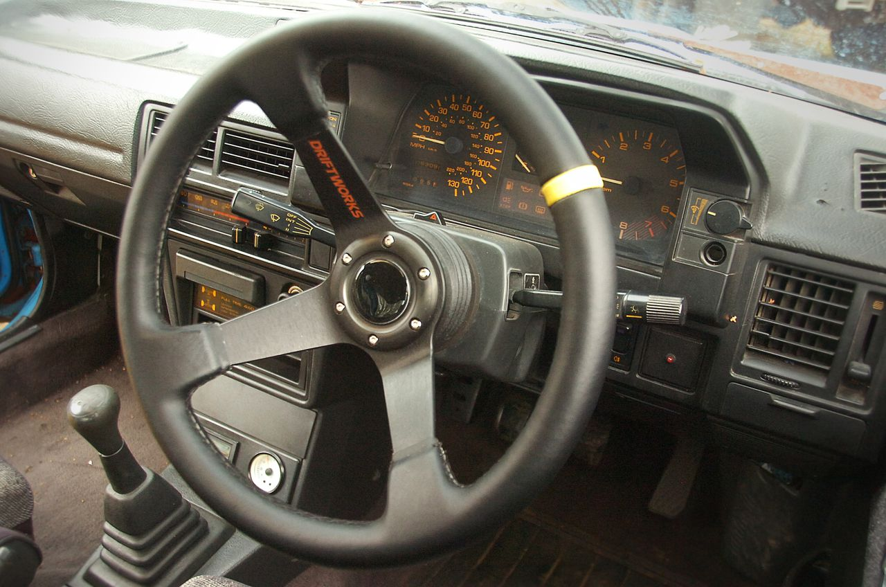 My steering wheel, sitting at something much more than a small angle to the right.