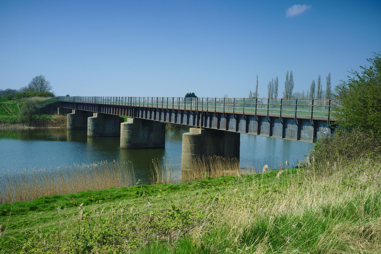 The Magdalen railway bridge, intact and spanning the Great Ouse relief channel.