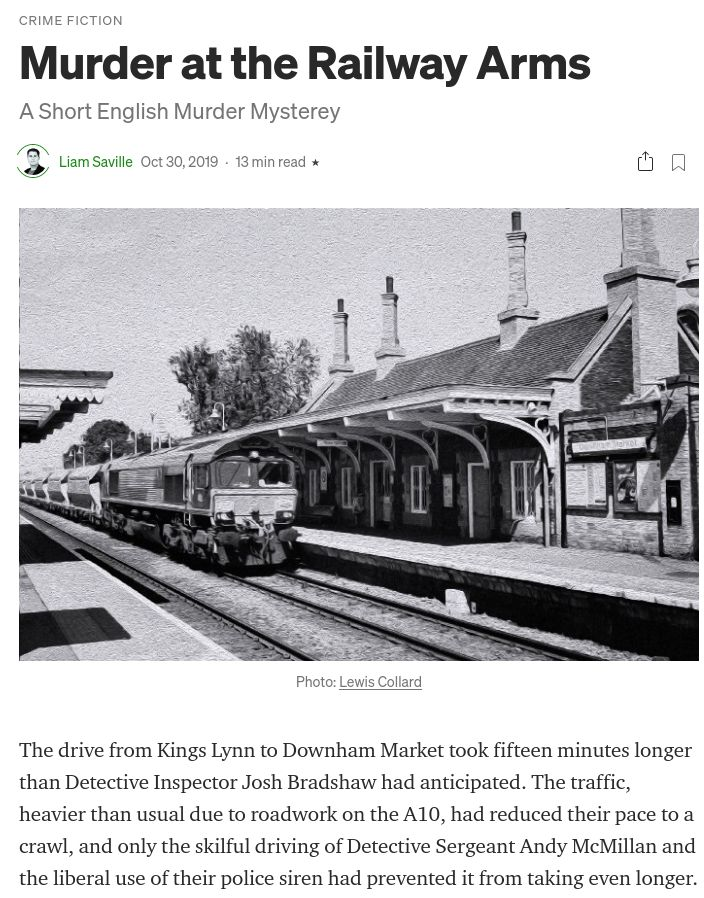 "Screenshot of Liam Saville's short story ""Murder at the Railway Arms"", with my photo heading up the article"